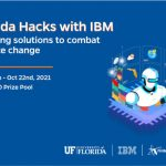 A rectangular graphic with a blue background depicts a robot. To the right side of it, its headline states Florida Hacks with IBM.