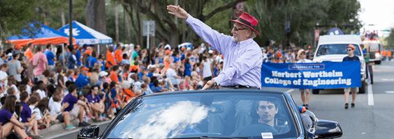 Dr. Herbert Wertheim in the UF Homecoming parade