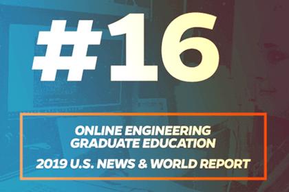 Online engineering graduate education program ranked #16 by U.S. News & World Report