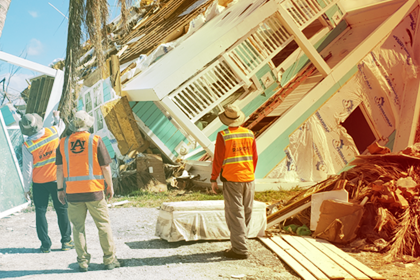 Engineers from the Structural Extreme Events through Reconnaissance research group inspected buildings damaged after the hurricane to capture how failures happened. (photo credit: Justin Marshall)