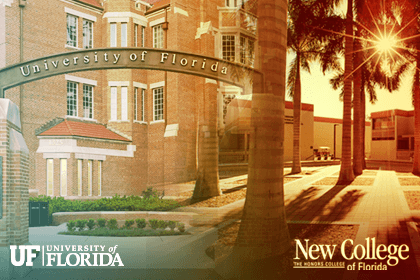 Composite image of the UF campus entrance and the palm court at New College, Sarasota