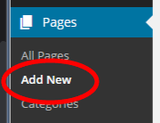 Screenshot of link to add a new page