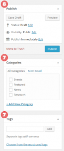Set categories or tags and publish