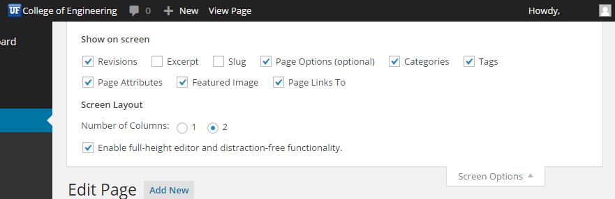 Screenshot of Screen Options pulldown tab