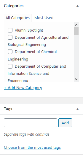 Screenshot of meta boxes for post categories and tags