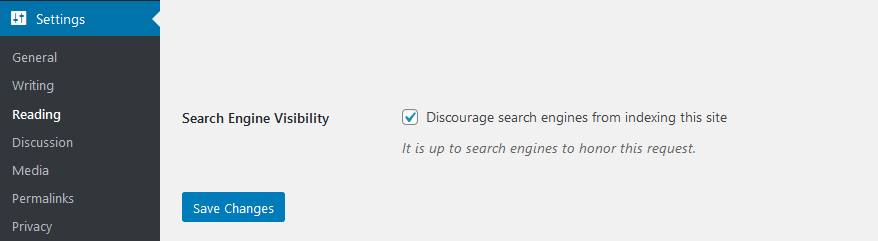 Screenshot of discourage search engines setting