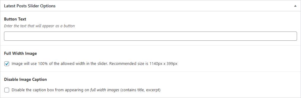 Screenshot of Latest Posts Slider options