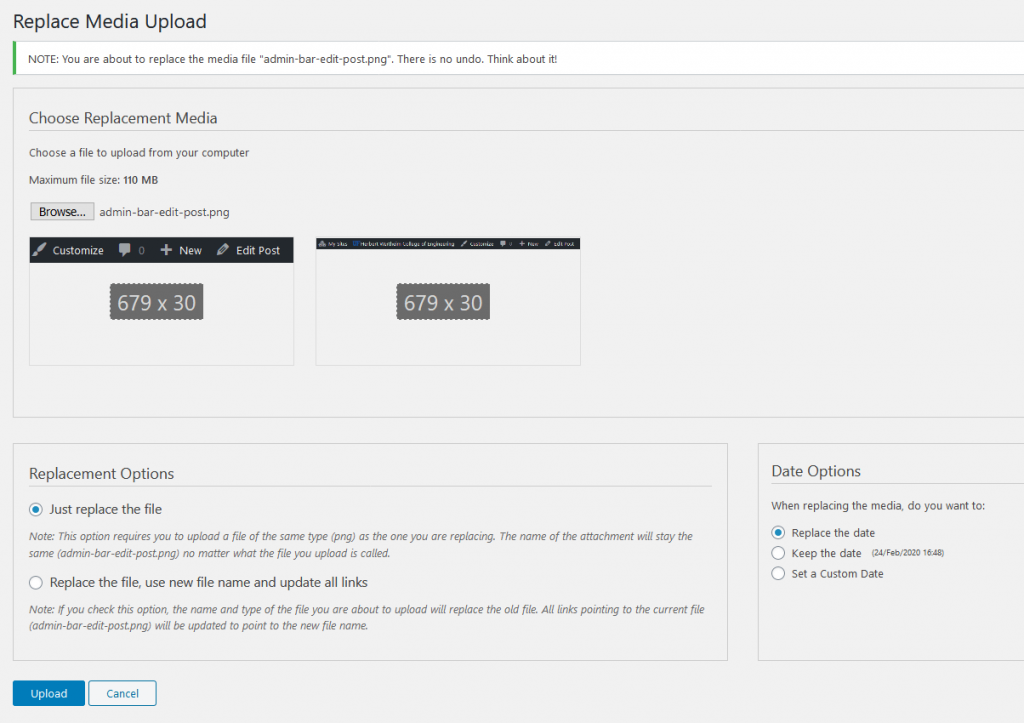 Screenshot of replace media upload screen