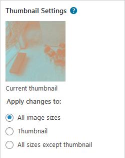 Screenshot of image thumbnail settings