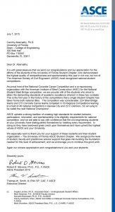ASCE congratulatory letter
