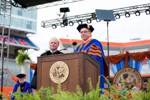 Dr. Rhines and UF President Fuchs at the University of Florida Doctoral Commencement Ceremony Spring 2016