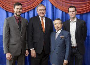 From left: Stephen Nelms, UF President Kent Fuchs, Dr. Sachio Semmoto, Bradlee Nelms