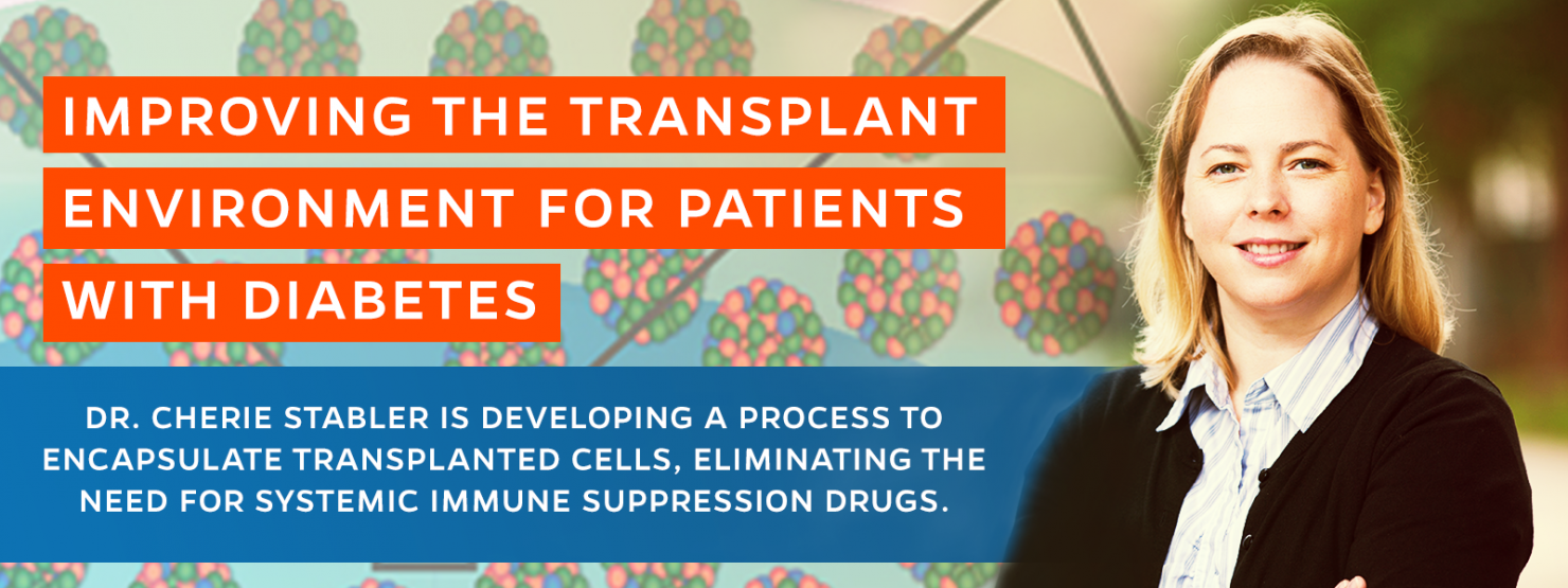 Dr. Stabler and her team seek to develop a device that prevents rejection by the host and helps support the cellular transplant via a multi-pronged approach.