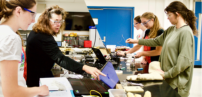 Dr. Ruzycki with students in lab.