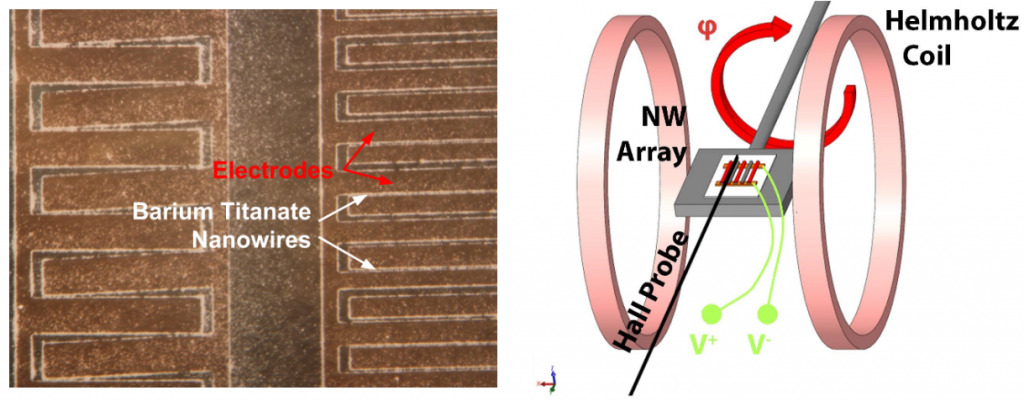 Barium titanate nanowires with a schematic of the rotating magnetoelectric measurement setup