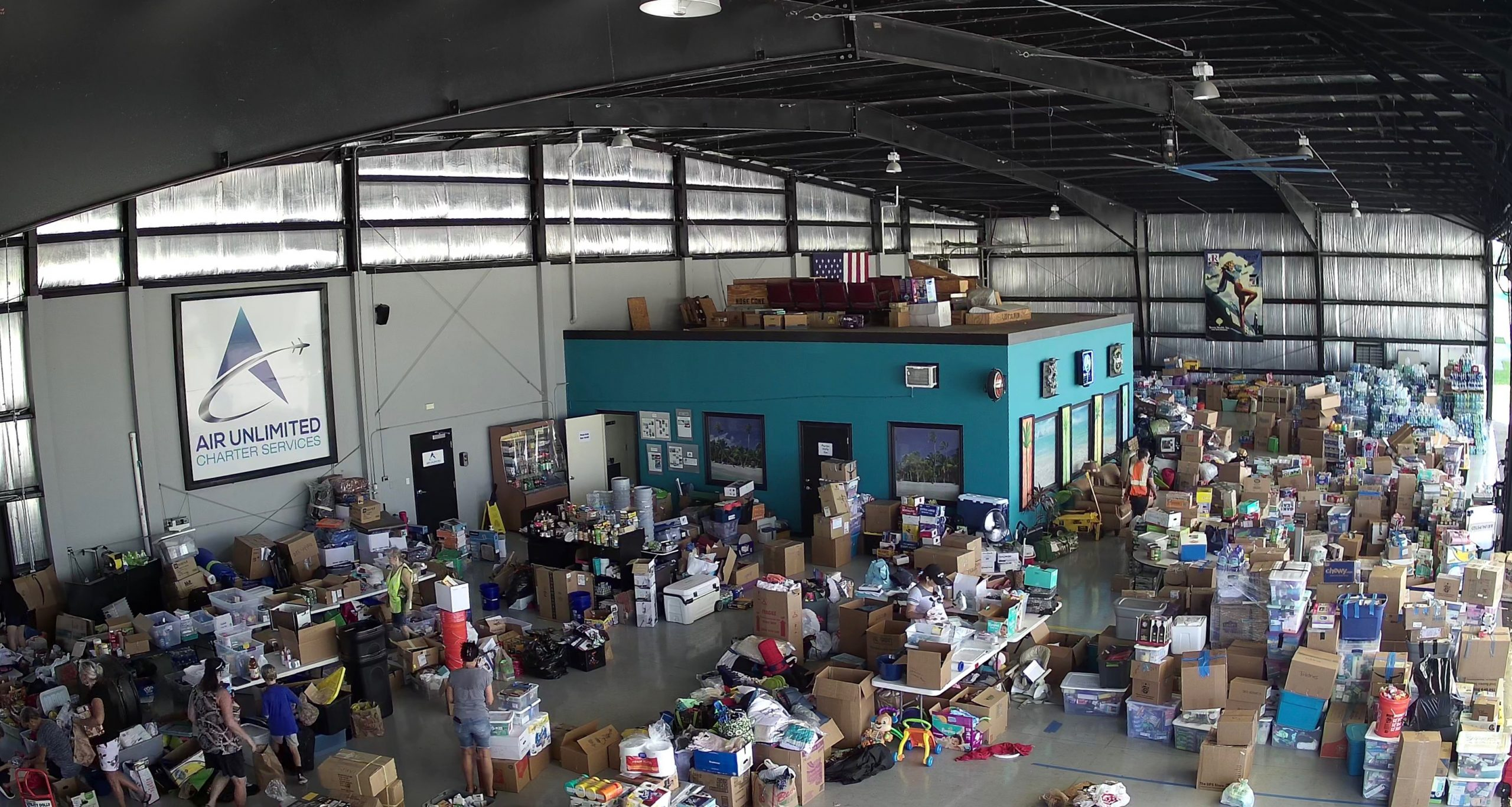 Warehouse full of donated supplies