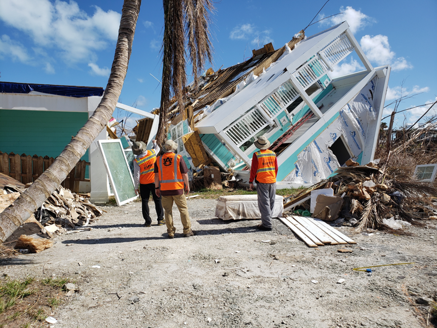 Engineers from the Structural Extreme Events through Reconnaissance research group inspected buildings damaged after the hurricane to capture how failures happened. Justin Marshall