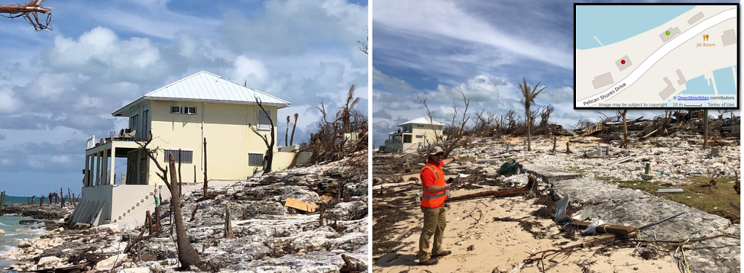 Two houses side by side - only one survived the storm surge. Daniel Smith, Structural extreme Events Reconnaissance Network, Author provided
