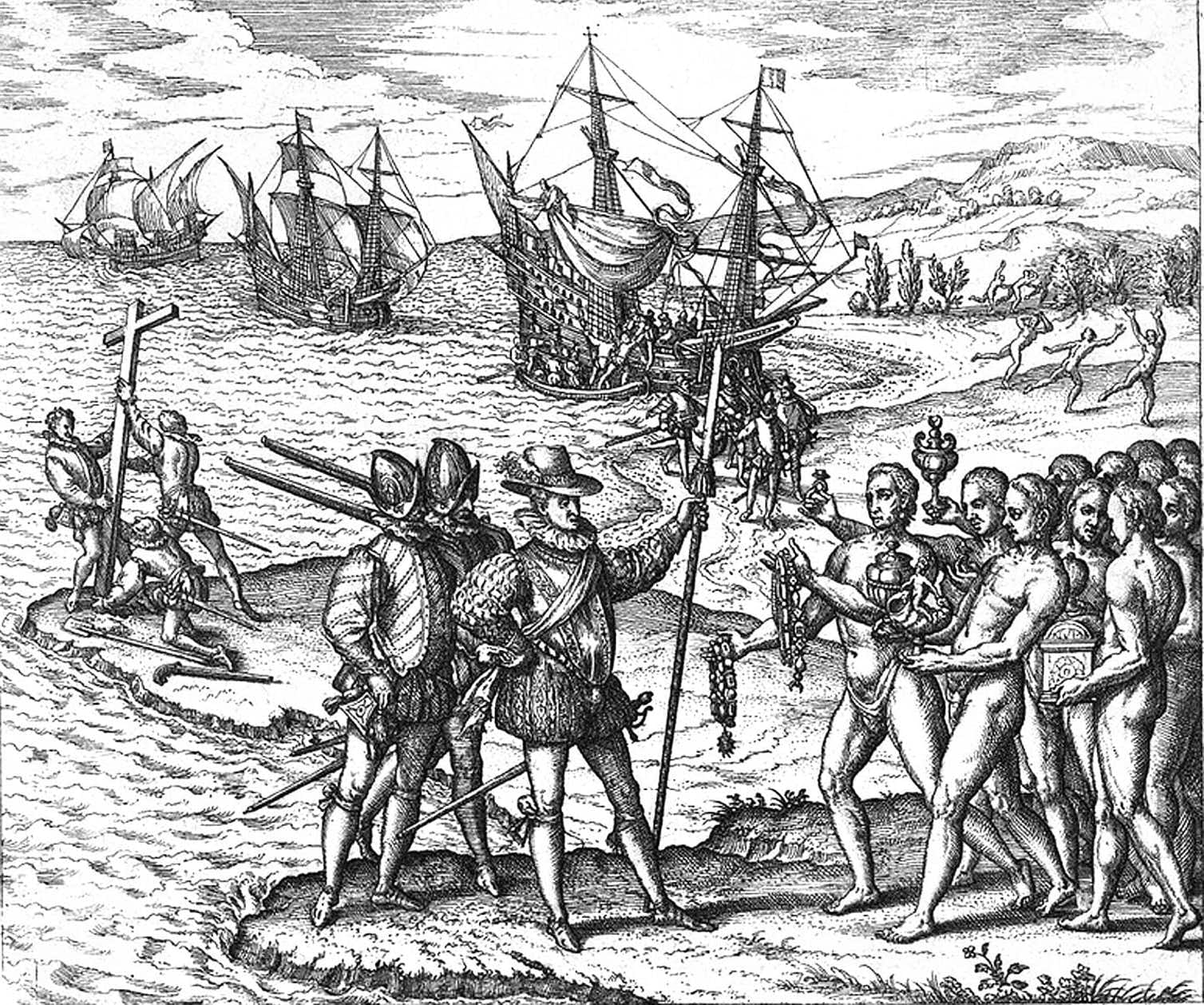 Engraving depicting Christopher Columbus landing on Hispaniola. His expedition originally landed in the Bahamas and was met by the Lucayans, who were wiped out along with an estimated 12-15 million indigenous people across the Caribbean. Theodor de Bry/Library of Congress