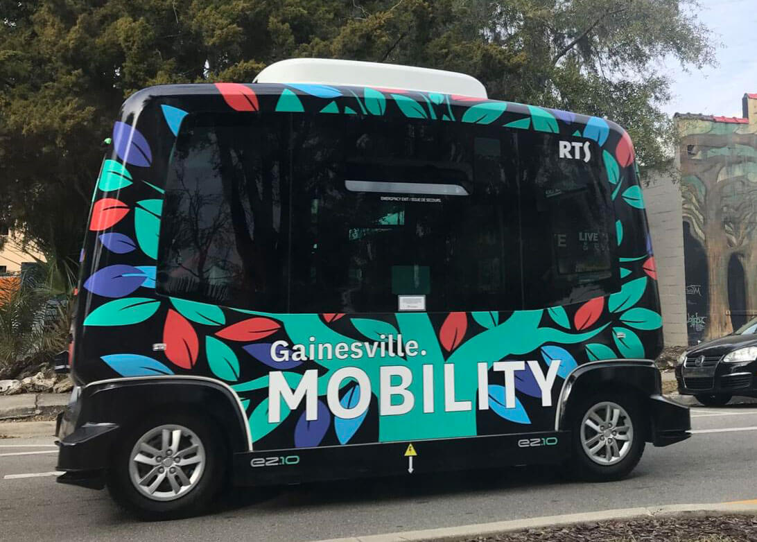 The autonomous shuttle in downtown Gainesville.