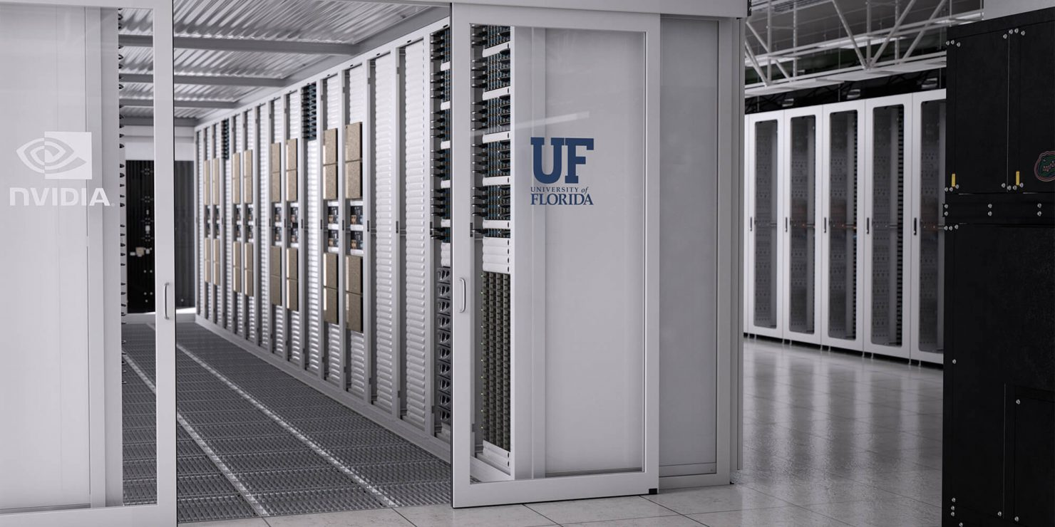 Artist's rendering of University of Florida's new AI supercomputer based on NVIDIA DGX SuperPOD architecture.