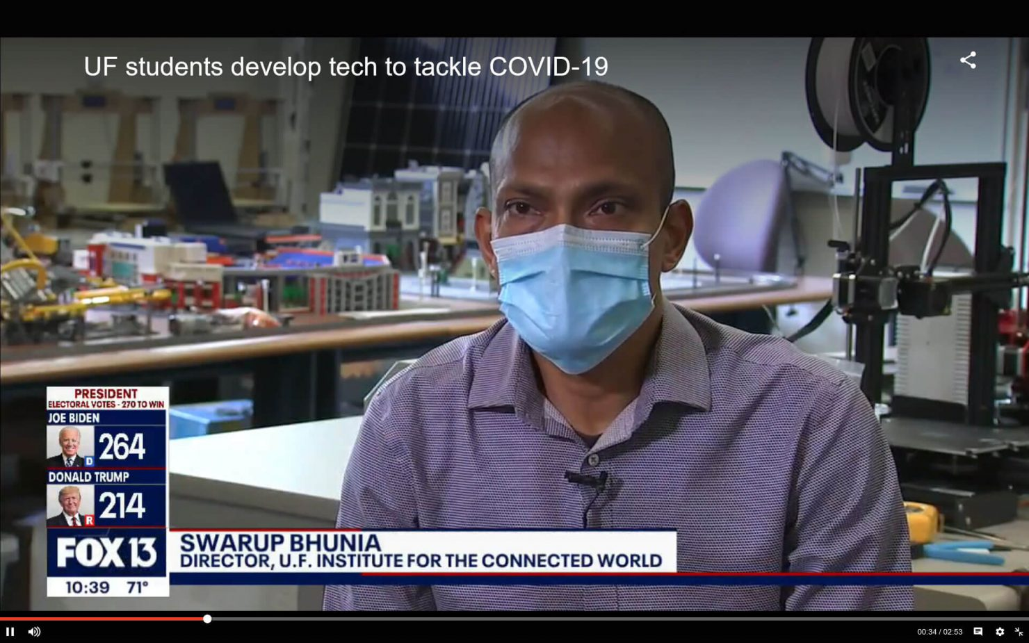 Screenshot of a news video featuring Swarup Bhunia, Ph.D., ECE speaking about devices to fight viruses