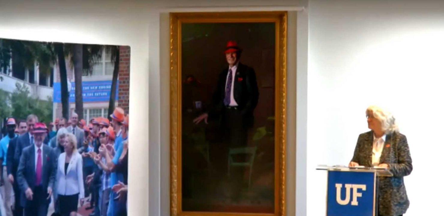 Screen capture of video taken at the unveiling of Herbert Wertheim's portrait
