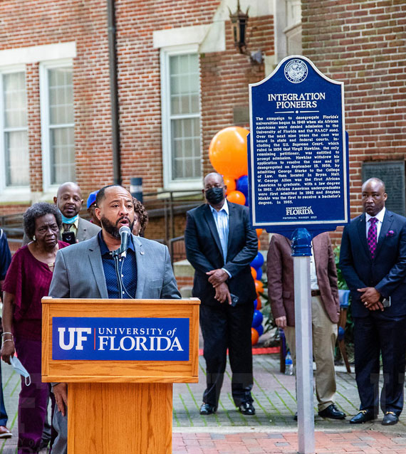 Attendees at the ceremony to dedicate a historical marker honoring the integration pioneers who led the charge to desegregate UF.