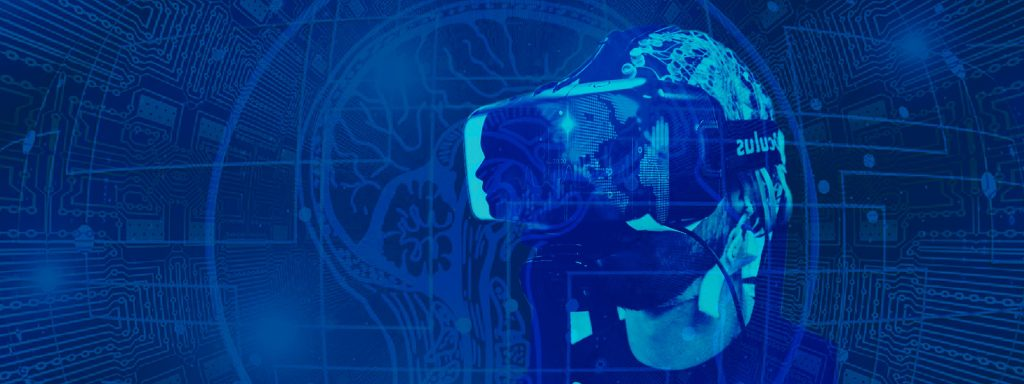 Photo illustration: User of a virtual reality headset superimposed over circuit board and a cross section of the human brain
