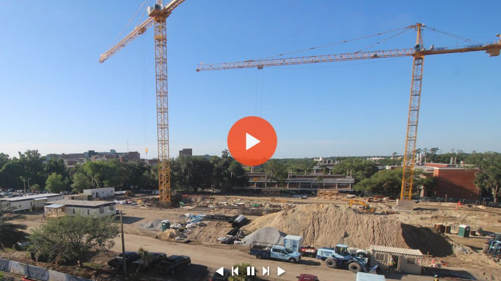 Still image of the live feed of the construction site for the Malachowsky Hall for Data Science & Information Technology