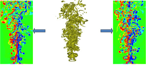 Three-dimensional  and cross-section view of a turbulent thermal plume